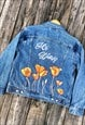 HAND-PAINTED AND EMBELLISHED POPPY FLOWER JACKET WITH NAME