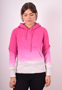 Adidas Womens Vintage Hoodie Jumper Medium Pink 90s