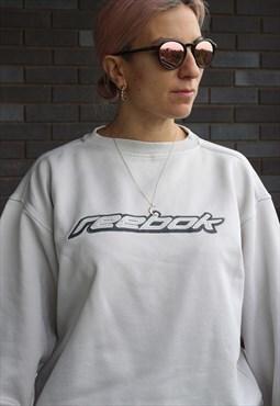 Vintage Y2K grey Reebok embroidered spell out sweatshirt