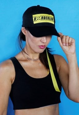 Unisex black cap with yellow logo patch