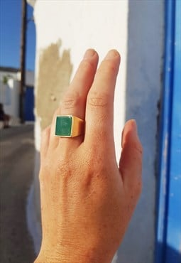 Gin Gold & Green Agate Ring