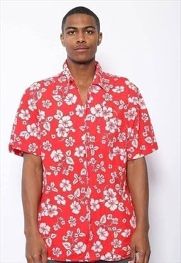 Vintage Paul & Shark Hawaiian Pattern Shirt Red