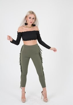 Khaki Fringe Leggings