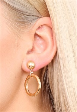 Gold Hammered Small Hoop Earrings