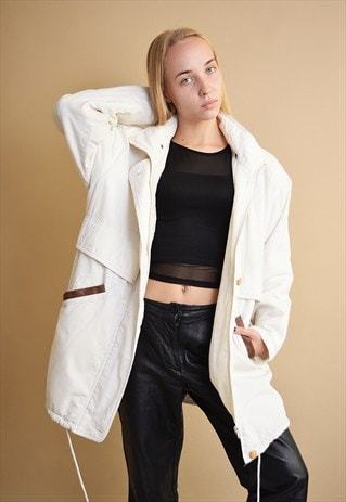 90'S RETRO WHITE MINIMALIST OVERSIZED PARKA JACKET