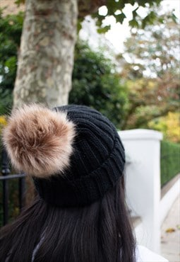 Faux Fur Pom Pom Hat in Black - Beanie Style