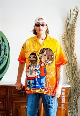 Vintage Y2K blue Hip hop graphic oversize shirt
