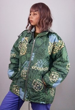 Vintage 90's Retro Print Winter Puffer Ski Jacket