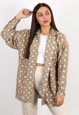 Vintage Unbranded Long Sleeve Blouse in Beige