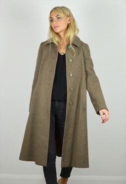 Vintage 70s Long Brown Wool Coat