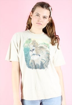 Vintage 90s T-Shirt Lion Y2K Cream Beige  Safari Photo
