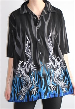 90s Vintage Korean Dragon Tribal UNISEX Button Up