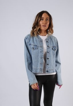 Vintage Denim Jacket Oversized Cropped UK 16 XL (JM3G)