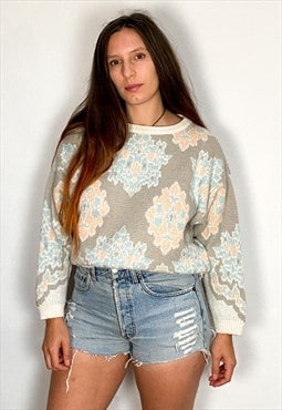 Vintage 80's Pastel Pattern Loose Long Sleeve Jumper