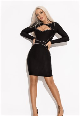 Long sleeve dress with stud detail