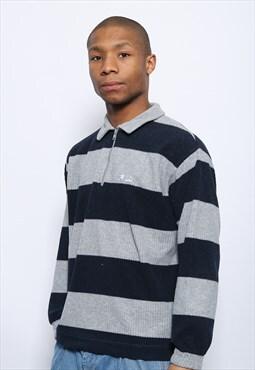 Vintage Fila 1/4 Zip Striped Fleece Blue Grey