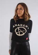 Cropped Turtle Neck Top Striped BICH Anarchy Print (H2N)
