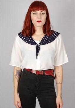 Vintage 80s sailor inspired blouse