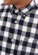 ESSENTIAL TARTAN BIG CHECKED WASHED OVER SHIRT - WHITE/BLACK