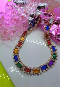 Rainbow Diamante Choker