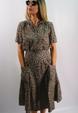 Vintage 70's floral TWIN SET (skirt & blouse)