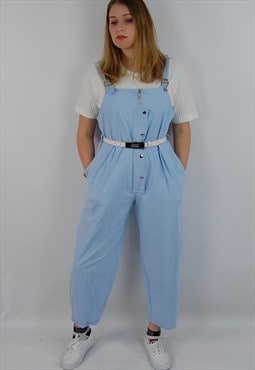 Vintage light blue dungarees playsuit overalls, wide leg