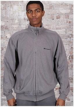 Vintage Champion Full Zip Embroidered Logo Sweatshirt Grey