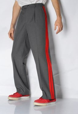 Vintage 70s Grey Red Striped Wool Blend Pleated Pants