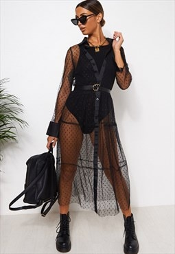 Black Mesh Polka Dot Shirt Dress