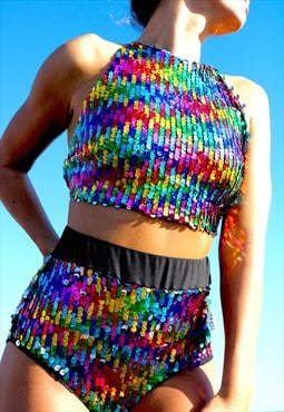 Rainbow Sequin High Waisted Peakini Bottoms Pea ST