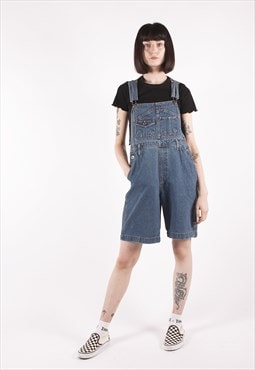 Vintage 90s Blue Relaxed Overall Short Dungarees /NN2381
