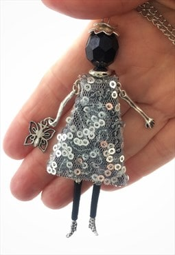 French doll pendant with silver sequin dress