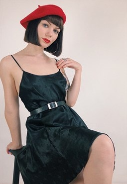 Black 90s Satin Mini Slip Dress