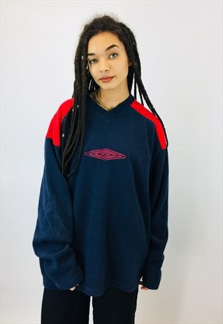 VINTAGE UMBRO EMBROIDERED OVERSIZED FLEECE SWEATSHIRT