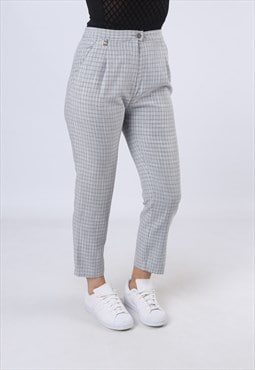 High Waisted Trousers Checked Tapered UK 10 Small (GK3D)