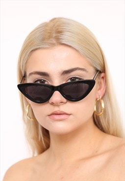 Black Thin Cat Eye Slim Sunglasses UV400