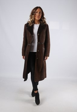 Sheepskin Suede Leather Shearling Coat UK 12 (K95E)