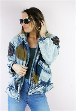 Blue Denim Boyfriend Oversized Cropped Frayed Jacket
