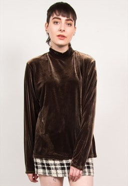 Vintage 90's Brown High Neck Velvet Top