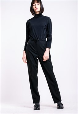 VINTAGE Black High Waist Retro Trousers