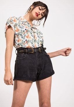 Vintage 80s Oversized Denim Shorts Black / 0493