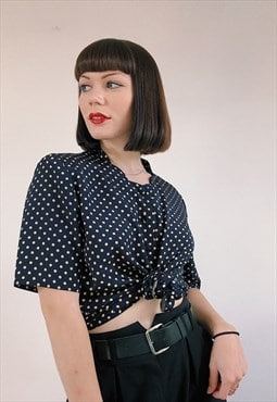 Cream And Navy 90s Polka Dot Blouse