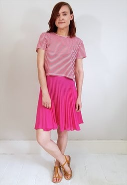 Vintage 80's Pink Sheer Pleated Mini Skirt
