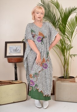 Vintage 90sFloral Print Maxi Dress Grey Green