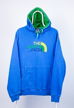 Vintage The North Face Hoodie Spell Out Blue Large