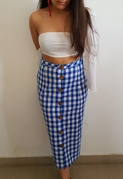 Button down gingham skirt in blue and white