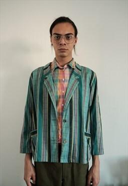 vintage  70s colored mint lines blazer