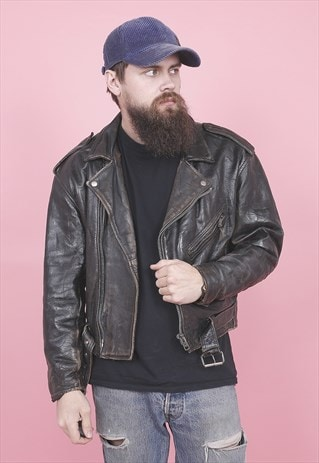 VINTAGE BIKER LEATHER JACKET /R13038