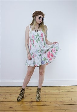 Vintage 90's Floral White Strappy Summer Playsuit