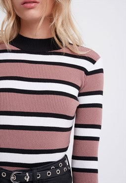 Mock neck jumper - dark pink, beige, black
